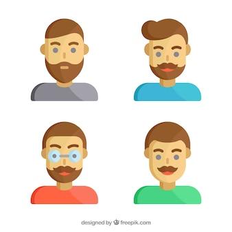 Avatars pessoas, ícone rosto do usuário plana