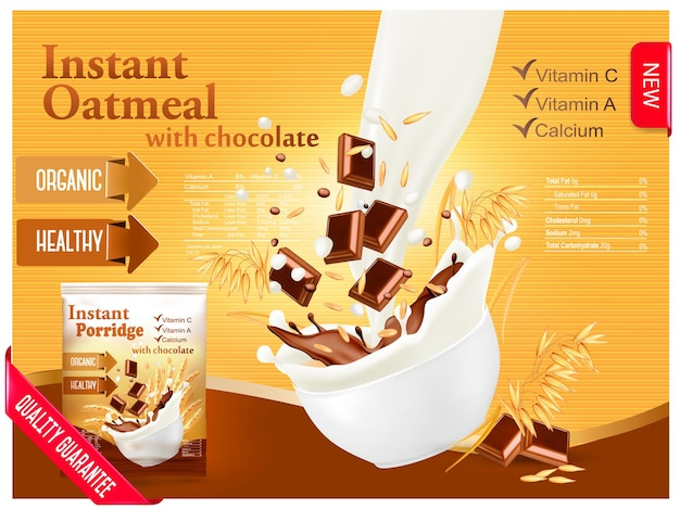 Aveia instantânea com conceito de anúncio de chocolate. leite fluindo em uma tigela com grãos e chocolate. vetor.