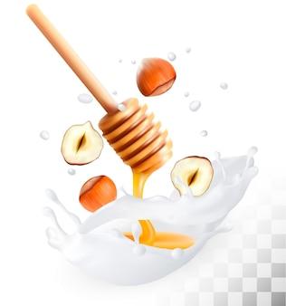 Avelã e mel em um respingo de leite em um fundo transparente
