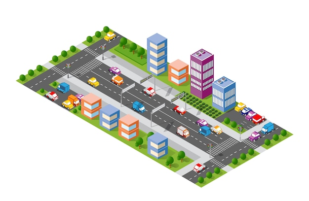 Avenida da cidade isométrica