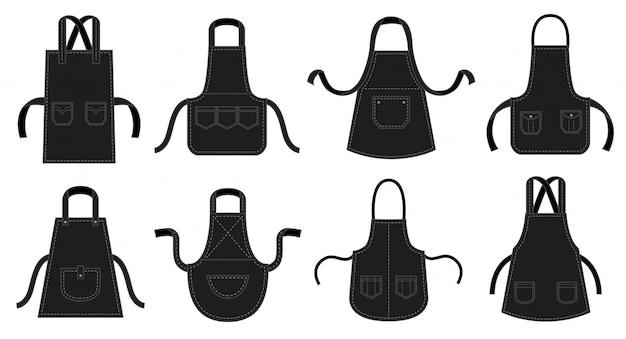 Aventais de cozinhas pretas. avental de garçom, uniforme de chef de restaurante com bolso de remendo de costura e conjunto de ilustração de uniformes de cozinha