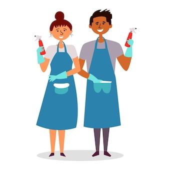 Aventais de garotas carregam detergentes de limpeza pessoal de limpeza