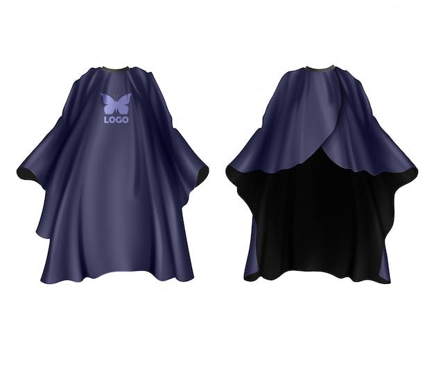 Avental de cabeleireiro azul escuro de ilustração realista isolado na frente branca e vista traseira