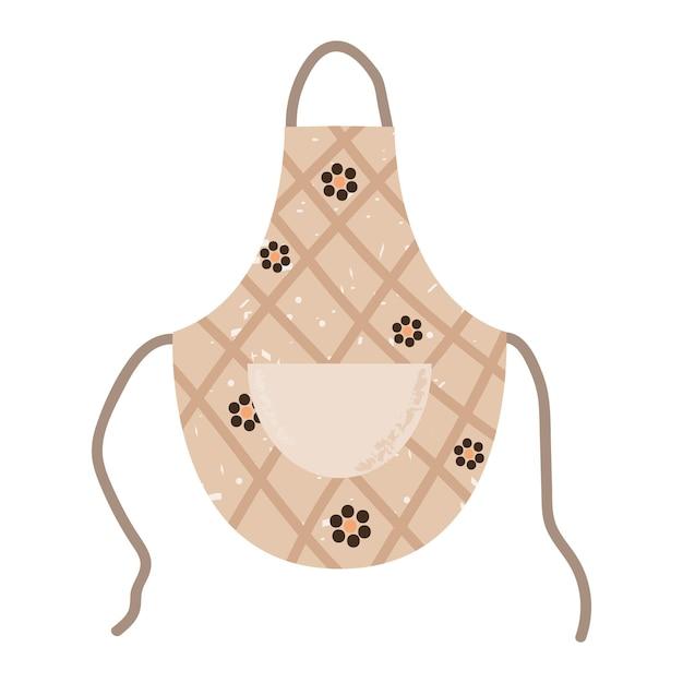 Avental de cozinha com padrão floral acessório de proteção de graxa ilustração vetorial plana