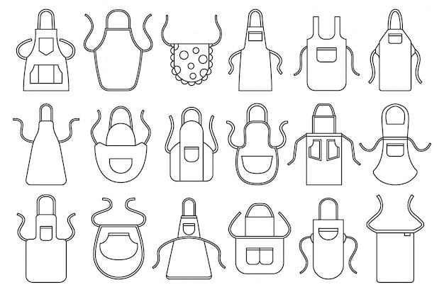 Avental de cozinha em conjunto de ícones de estilo de linha.