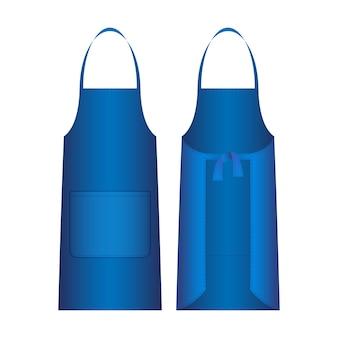 Avental isolado no branco. a vestimenta de proteção externa azul cobre principalmente a frente do corpo. pode ser usado por razões de higiene, a fim de proteger as roupas do desgaste. vista frontal e traseira.