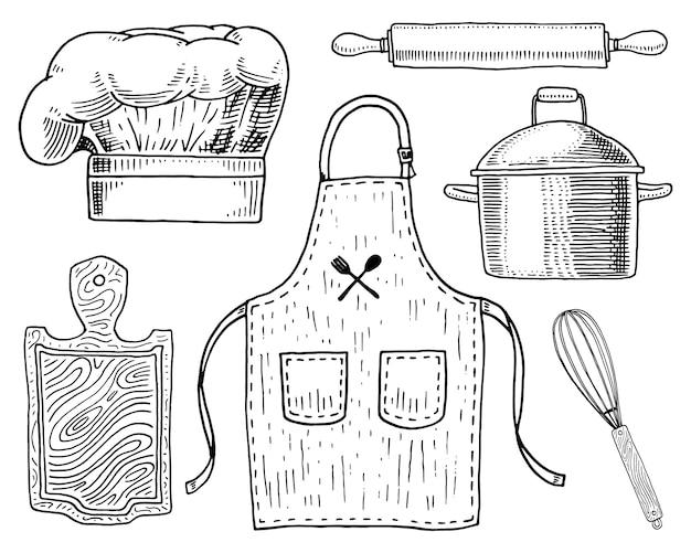Avental ou pináfora e capuz, rolo e panela ou corola, tábua de madeira.
