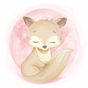 Avental vestindo do fox bonito do bebê