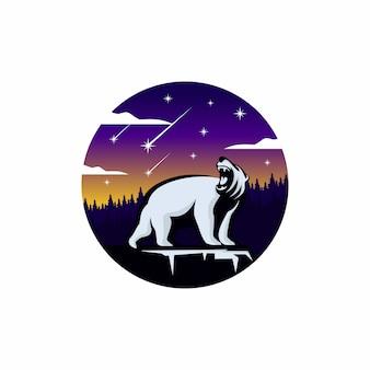 Aventura ao ar livre com logotipo do urso selvagem
