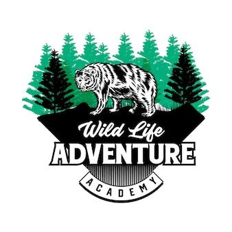 Aventura ao ar livre e sinal de clube de esporte de caça ou vetor de distintivo