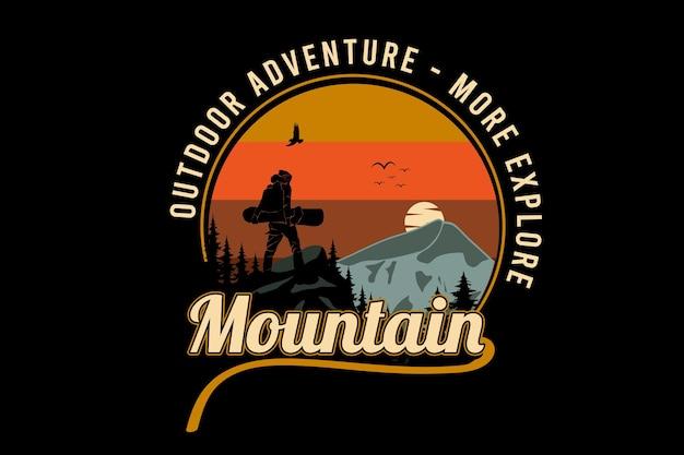 Aventura ao ar livre explore mais a cor da montanha, laranja, amarelo e cinza
