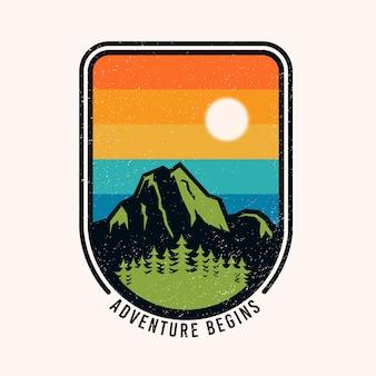 Aventura colorida começa logotipo distintivo