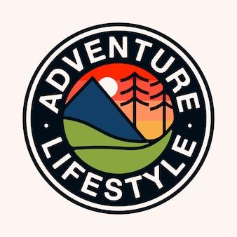 Aventura colorida estilo de vida arte plana distintivo logotipo