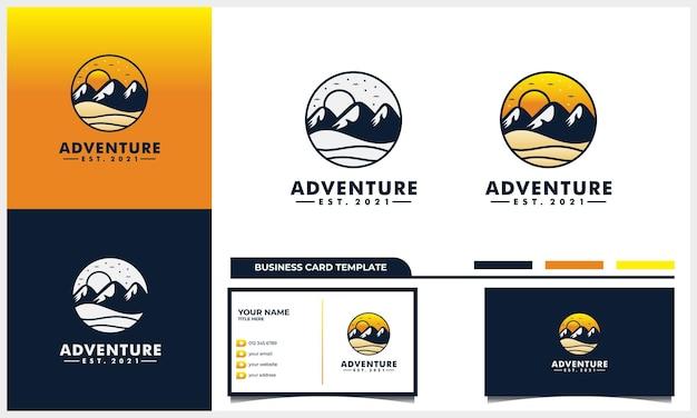 Aventura com montanha e sol conceito de design de logotipo e modelo de cartão de visita