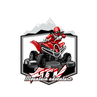 Aventura da montanha do logotipo do atv do off-road da motocicleta do quadrilátero