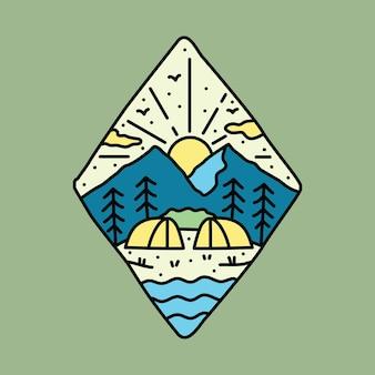 Aventura de acampamento com design de t-shirt de ilustração gráfica de linha de montanha e rio