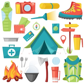 Aventura de acampamento para turismo e viagens na ilustração da floresta