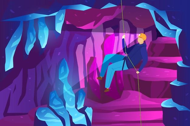 Aventura de alpinista nas montanhas, estudo de cavernas de gelo, ilustração de espeleologia de esportes radicais. .