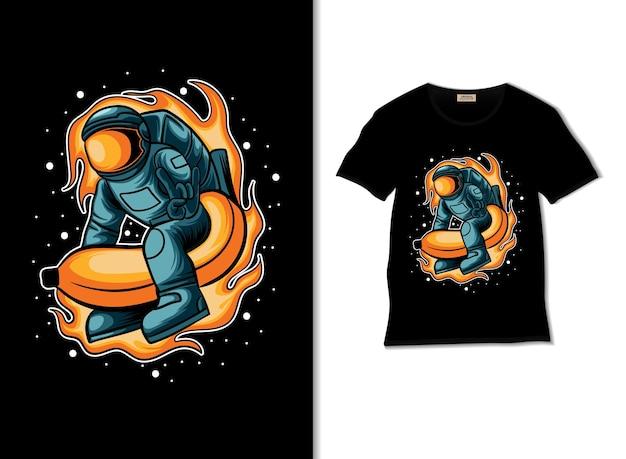 Aventura de astronauta com ilustração de foguete de banana com design de camiseta