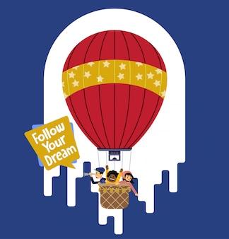 Aventura de balão de criança