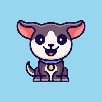 Aventura de cão bonita para etiqueta do logotipo do ícone de personagem e ilustração