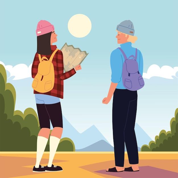 Aventura de mochileiros com mapa e bolsas