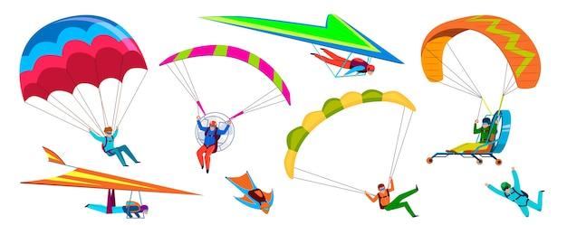 Aventura de paraquedismo, pessoas pulam de pára-quedas no céu
