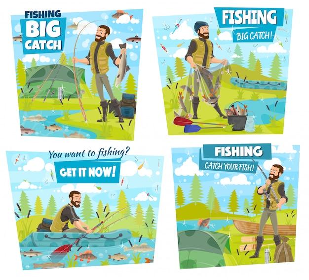 Aventura de pesca, pescador captura lago ou rio peixes