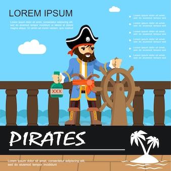 Aventura de pirata plana colorida com pirata segurando o leme do navio e uma garrafa de rum.
