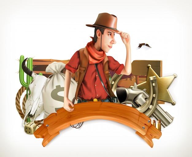 Aventura de vaqueiro. estilo retrô ocidental. logotipo do jogo. emblema 3d