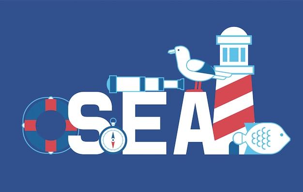 Aventura de verão no mar. farol, bússola, luneta, gaivotas, peixes e tábua de salvação.