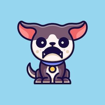 Aventura do cão angry para etiqueta do logotipo do ícone de personagem e ilustração