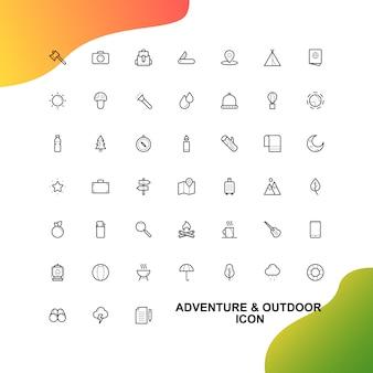 Aventura e conjunto de ícones de viagem