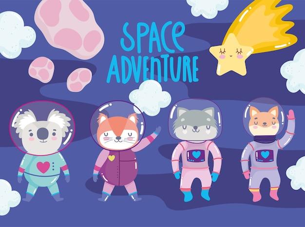 Aventura espacial fofa raposa gato guaxinim com ilustração de desenho animado terno de astronauta