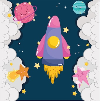 Aventura espacial, lançamento de nave espacial planeta nuvens bonito desenho animado