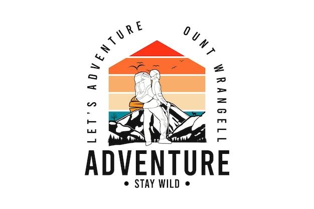 Aventura, mantenha-se selvagem, t shirt design silt estilo retro