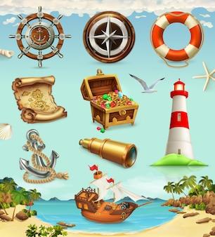 Aventura marinha, set de jogo, férias de verão