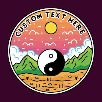 Aventura monoline yin e yang com design de emblema de monoline de montanha