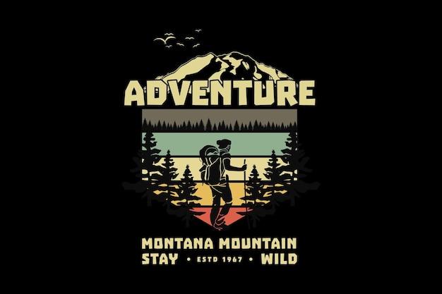 .aventura montana fique selvagem, projete um estilo retrô elegante
