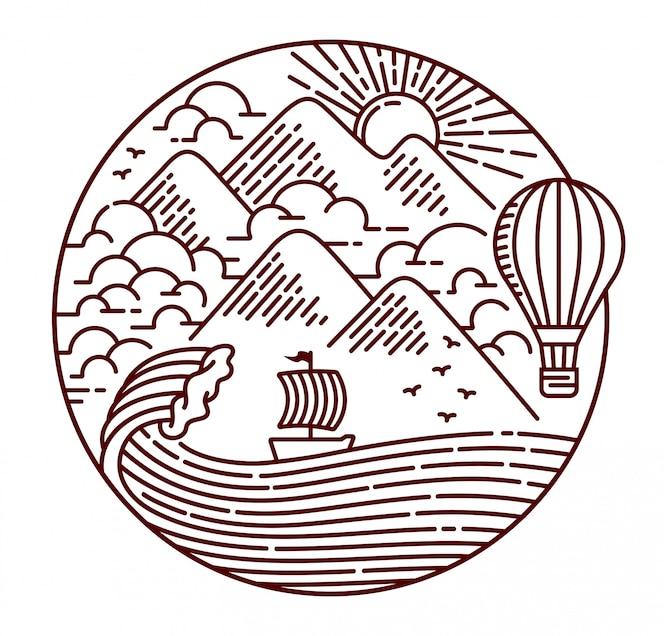 Aventura na ilustração da linha do oceano