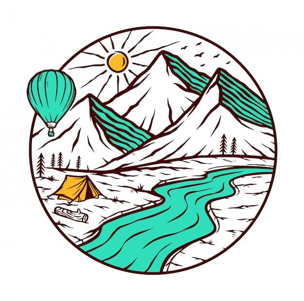 Aventura na ilustração das montanhas