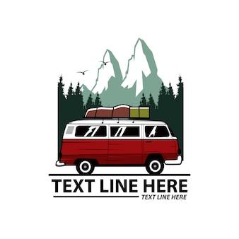 Aventura na montanha com modelo de linha de texto
