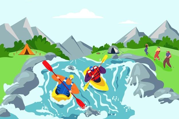 Aventura no rio e ilustração de fundo de viagens de caiaque