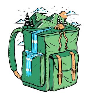 Aventura para a montanha com uma bolsa