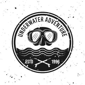 Aventura subaquática e vetor de mergulho redondo emblema monocromático, etiqueta, emblema ou logotipo no fundo com texturas removíveis do grunge