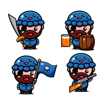 Aventura temática de design de personagem de piratas bonitos procurando um tesouro