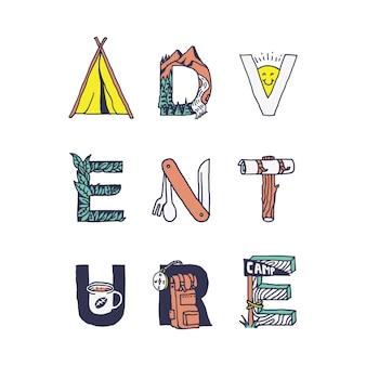 Aventura tipografia acampamento natureza selvagem gráfico ilustração