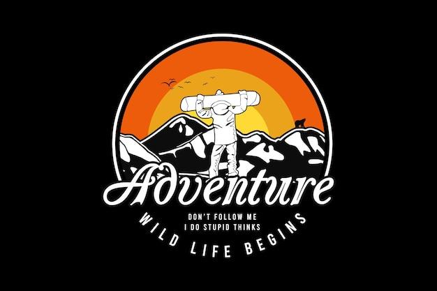 Aventura, vida selvagem começa, design silt estilo retro