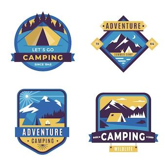 Aventura vintage e emblemas de acampamento