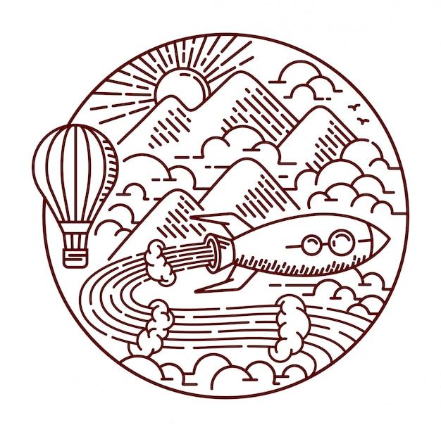 Aventurar-se com ilustração de linha de foguete